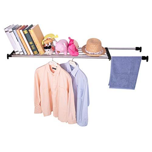 Hershii Adjustable Closet Tension Shelf Expandable Cabinet Hanging Rod Metal Storage Rack Organizer DIY Divider Separator for Wardrobe Cupboard Kitchen Bathroom, Black, 46.06-74.02inches
