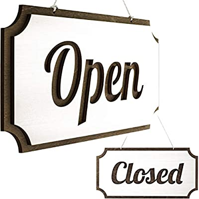 Rustic Wooden Open Closed Sign - Double-Sided Open Sign - Vintage Style Wood Closed Sign - Open and Closed Sign for Business - Decorative Open-Closed Sign 12 ? 6 Inches