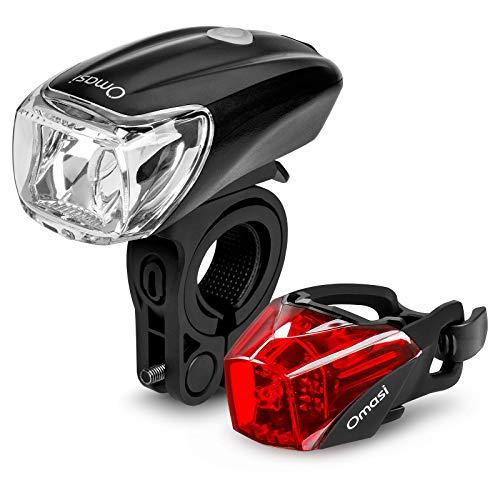 Omasi LED Fahrradlicht Set, StVZO Zugelassen LED Fahrradbeleuchtung Fahrradlampe fahrradlichter USB Wiederaufladbare Set Wasserdicht Frontlicht Rücklicht mit USB-Kabel
