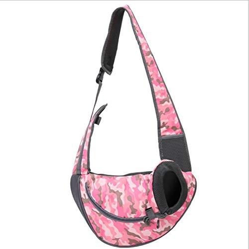 Pet Bag Cat Dog Travel Tragbarer Slung Schultertasche, Oxford Tuch, Breathable Ineinander Greifen-Hunderucksack, Pet Supplies,Pinkcamouflage,S