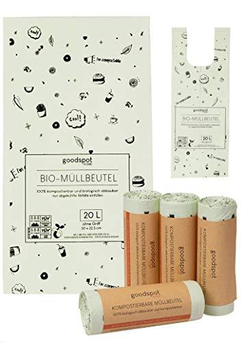 goodspot® 75x Premium Biomüllbeutel 20l bis zu 30% Dicker, reißfest und auslaufsicher Bio Müllbeutel ohne Tragegriff Biomülltüten 100% kompostierbar in Biotonne und Komposter