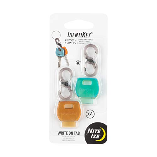 Nite Ize Identikey Covers + S-Biner Key Clips, Write-On Universal Key Covers for Quick Key Identification + Attachment to Key Chain, Multiple Colors