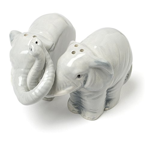 Abbott Collection Hugging Elephants Ceramic Salt & Pepper Shaker Set