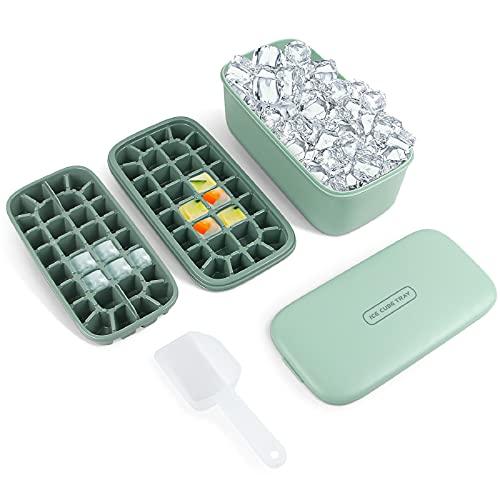 QRANSS Eiswürfelform, Eiswürfelbehälter mit Deckel, Eisbox Doppelschicht Eiswürfelschale, Eiswürfel Form, Ice Cube Tray mit EiswürfelSchaufel Eiswürfelschalen für Whisky, Getränke, 64 Fach