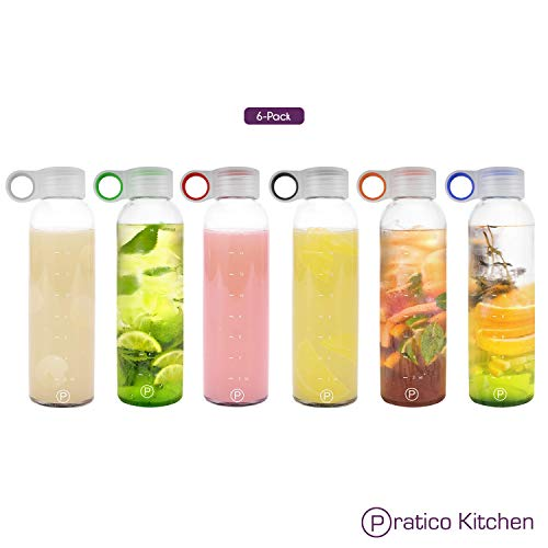 Pratico Kitchen 18oz Leak-Proof Clear Glass Bottles, Juicing Containers, Water/Beverage Bottles -...