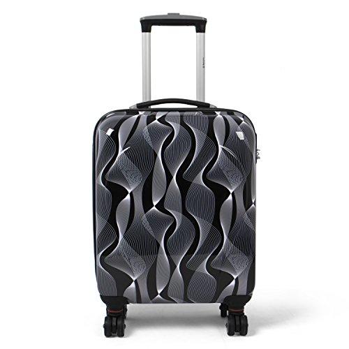 MasterGear Valigia Bagaglio a Mano | Trolley 4 Ruote (360°) | Valigia da Viaggio Rigida con Esterno in ABS e Lucchetto a Combinazione Colore Nero/Bianco