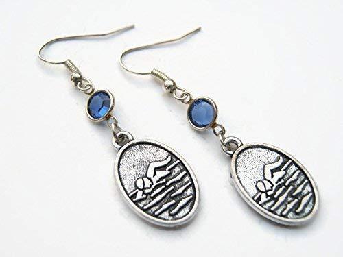 Swimmer Birthstone Earrings, Swim Earrings, Athletic Earrings, Swimming Jewelry, Personalized Sports Jewelry