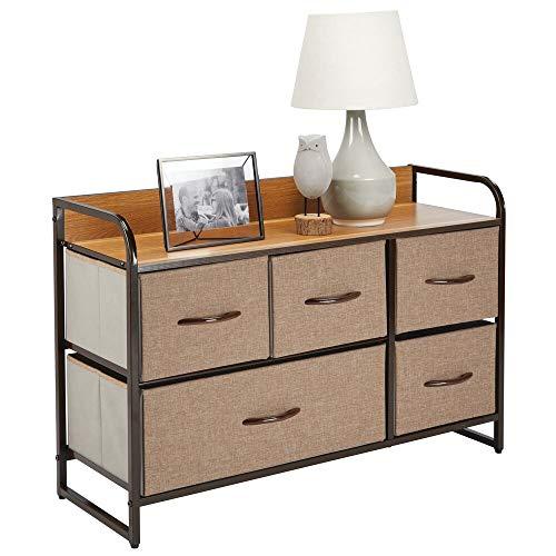 mDesign Elegante cassettiera con 1 cassetto grande e 4 piccoli – Capiente canterano ideale per qualunque stanza della casa – Comò in metallo, legno MDF e tessuto – marrone chiaro