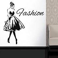 Ytsmsyyショッピングガールウォールステッカー女性ファッションスタイル衣料品ブティックドレスモデル婦人服店ウィンドウビニールステッカー57x59cm