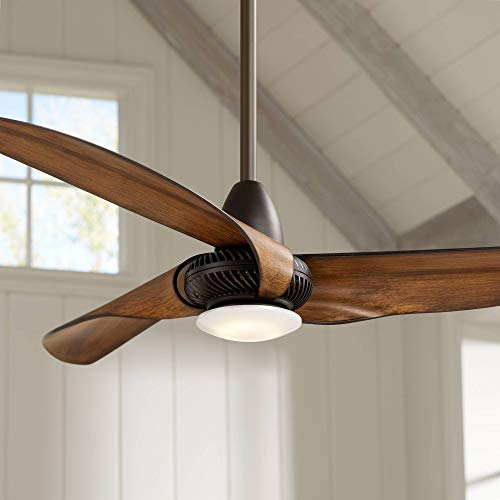 "56"" Sleuth Modern Ceiling Fan with Light LED Dimmable Oil Rubbed Bronze Frosted Glass for Bedroom Living Room Kitchen Dining - Casa Vieja"
