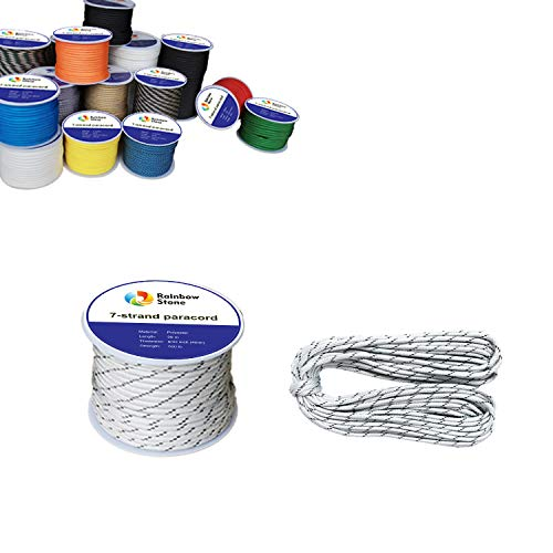 RainbowStone 7 Strand Paracord 15m White with Black Strips