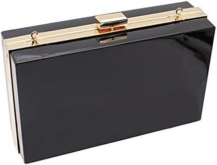 Women Cute Transparent Clear See Through Box Clutch Acrylic Evening Handbag Cross-Body Purse Bag (Black)