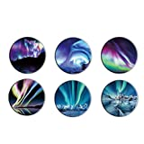 Cell Phones and Tablets Stand, Foldable Finger Holder (6 Pack) -Night Sky Northern Lights