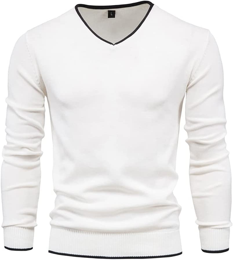LYYQH Men Autumn Sweater V-Neck Pullovers 100% Cotton Solid Color Long Sleeve Slim Sweaters Men Knitwear (Color : White, Size : XL Code)