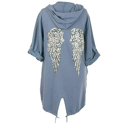 shopoholicfashion - Chaqueta con Capucha para Mujer, diseño de alas de ángel con Lentejuelas Azul Azul Vaquero 42