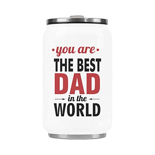 10.3 Oz Portable Coffee Mug With Straw Stainless Steel Vacuum Cup Thermos Father's Day Mug - You Are The Best Dad In The World Mug Travel Watter Bottle