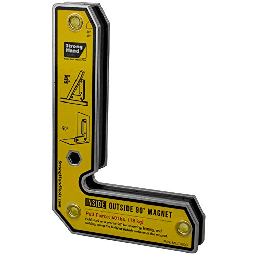 Strong Hand Tools, Angle Magnetic Square, Inside/Outside Magnets, Fixed Angle, 90° (30°, 60°), Mag. Pull Force 40 lbs, 6″ Length, Welding Square, MLD600, 6