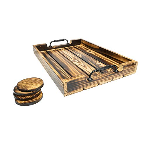 Serving Tray Ideal Breakfast in Bed Tray Tv Tray Ottoman Tray and for Your Coffee Table Tea Parties Decorative 20-Inch Dark Rustic Torched Wood Platter with Vintage Black Metal Handles and 4 Coasters