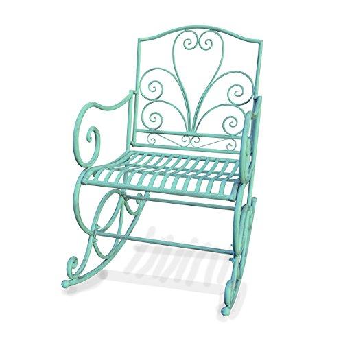 Mendler Schaukelstuhl HWC-C39, Schwingsessel Gartenstuhl, Metall Verzierung 100x60cm ~ antik-grün ohne Sitzkissen