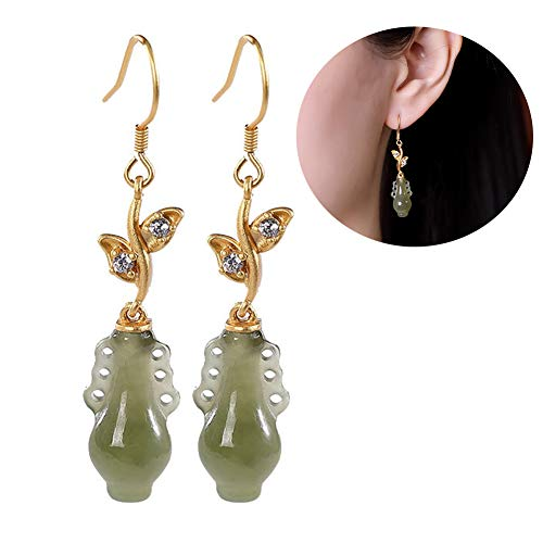 Damen Ohrringe Sterling Silber 925 Hängend Natürliche Jade Vase Form Anhänger Temperament Vergoldet Schmuck Geschenk,Gold