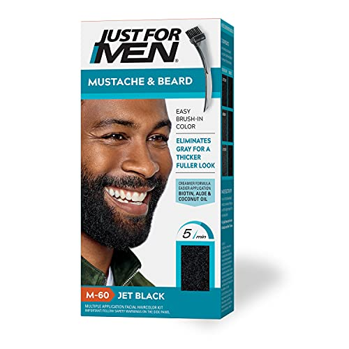Just For Men Mustache & Beard, Beard Coloring for Gray Hair with Brush Included - Color: Jet Black, M-60, Pack of 1