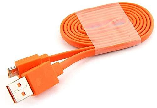 Adhiper Cargador rápido micro USB de repuesto, cable plano compatible con JBL Flip 2 Flip 3 Flip 4 Altavoces Logitech UE Boom 22AWG teléfonos Android (1,9 pies/naranja)