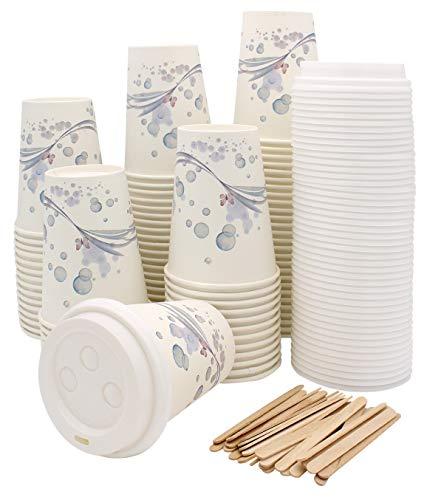 Exxens 100 vasos de papel para café – Taza con tapa de...