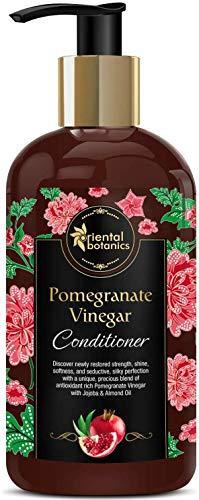 Glamorous Hub Oriental Botanics acondicionador de vinagre de granada de 300 ml con almendra de aceite de jojoba dorado para un cabello fuerte y saludable con impulso
