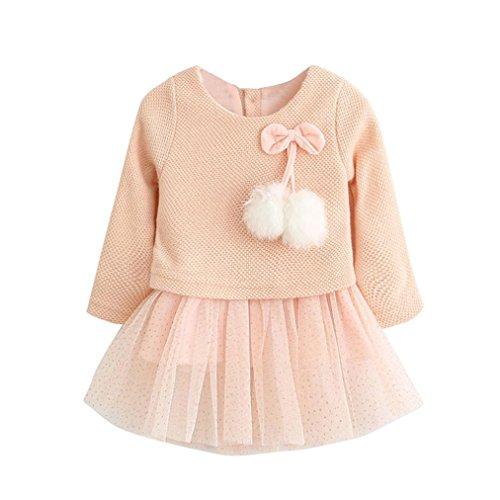 (0-24M) Elaco Toddler Baby Kid Girls Long Sleeve Knitted Bow Newborn Princess Dress (6-12M, Pink)
