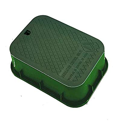 "Dura Plastic Products 12"" x 17"" x 6"" Deep Rectangular Extension Box Green Box-Green Lid - Replaces Carson 1419-6X - Engraved: Irrigation Control Valve from Dura Plastic Products, Inc."