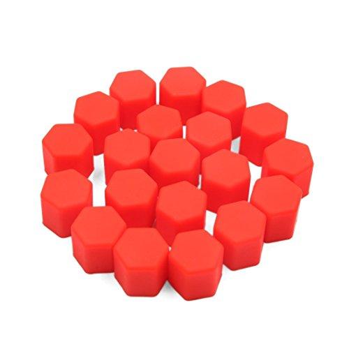 YeVhear 20 piezas 15 mm rojo silicona para neumáticos de coche con tapón de rosca y tapa antipolvo protector