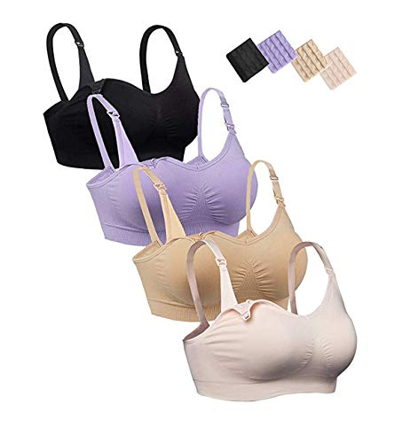 iloveSIA Womens Seamless Sleep Nursing Bra for Breastfeeding Clip Down Maternity Bras Pack of 4 Size L
