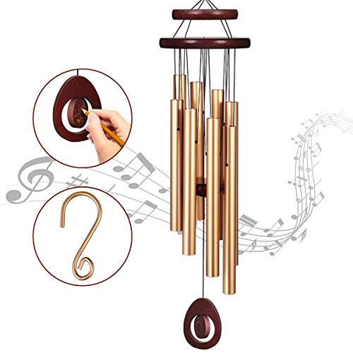 Homemaxs Wind Chimes for Outside Large Deep Tone, 38 Inch Large Memorial Wind Chimes with 8 Tubes & Rotatable DIY Pendants, Best Gift Wind Chimes for Outside Garden Patio Decor