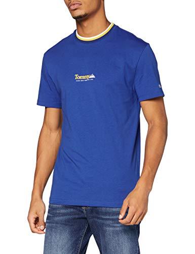 Tommy Jeans TJM Contrast Rib Collar tee Pantalones, Azul (Providence Blue), M para Hombre