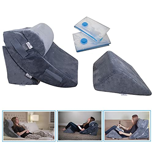4 Pcs Orthopedic Bed Wedge Pillow Set – Post Surgery, Relaxing, Back & Adjustable Head Support Cushion – Triangle Memory Foam Pillow for Acid Reflux, Sleeping, Reading, Leg Elevation, Snoring