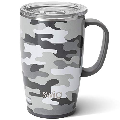 Swig Life 18oz Travel Mug with Handle and Lid, Stainless Steel, Dishwasher Safe, Cup Holder Friendly, Triple Insulated Coffee Mug Tumbler in Incognito Camo