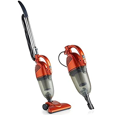VonHaus 2 in 1 Corded Bagless Lightweight Stick Vacuum Cleaner and Handheld Vacuum with HEPA Filtration, Crevice Tool and Brush Accessories - Ideal for Hardwood Floors