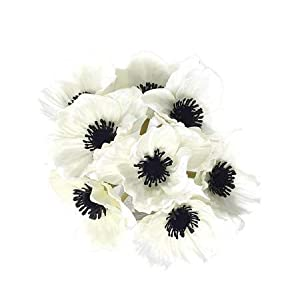Floral Kingdom 8 pcs Real Touch Anemone Poppy Bouquet for Artificial Flower Decor (White)