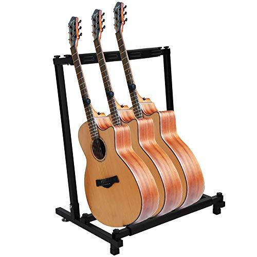 ギタースタンド (3本収納) 折りたたみ ギターハンガー 転倒防止用ゴム付属 楽器本体に傷が付くのを防ぎます安定耐久 収納しやすい ブラケット (アコギ/ウクレレ/クラシック/エレキ/ベース/管楽器 対応スタンド)