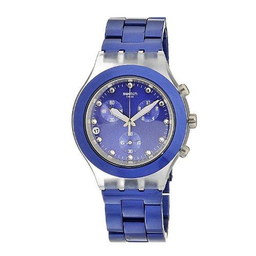 Swatch SVCK4055AG - Reloj analógico de caballero de cuarzo con correa de aluminio azul