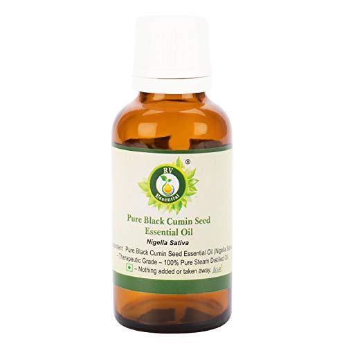 R V Essential Zuiver Zwart Komijn Zaad Essentiële Olie 10ml (0.338oz)- Nigella Sativa (100% zuiver en natuurlijke stoom gedestilleerd) Pure Black Cumin Seed Essential Oil