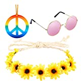 Hippie Costume Accessory - 70s Hippie Sunglasses, Rainbow Peace Sign Necklace, Flower Crown Headband for Women (3PCS)