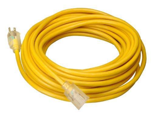 Coleman Cable 0 10/3 Cable de extensión de vinilo con extremos Iluminados, Alambre de calibre 10, 30.5 m, Amarillo