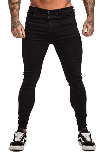 GINGTTO Men's Ripped Repaired Skinny Stretch Jeans 30 Black Denim