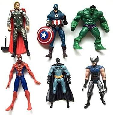 VITADAN New Set Superhero Action Figures - 6 PCS Action Figure Set - Batman, Superman, Hulk, Thor, Ironman, Captain America PVC Figure Toy Dolls – Hero Cake