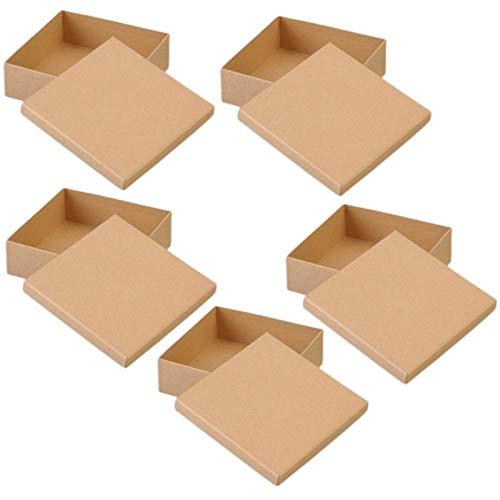 Lote de 5 cajas grandes cuadradas altas con tapa de cartón, lado...