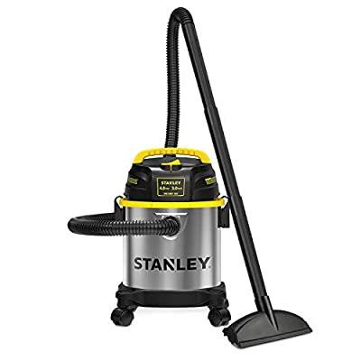 Stanley 3 Gallon Wet Dry Vacuum, 4 Peak HP Stainless Steel 3 in 1 Shop Vac Blower with Powerful Suction, Multifunctional Shop Vacuum W/ 4 Horsepower Motor for Job Site,Garage,Basement,Van,Workshop