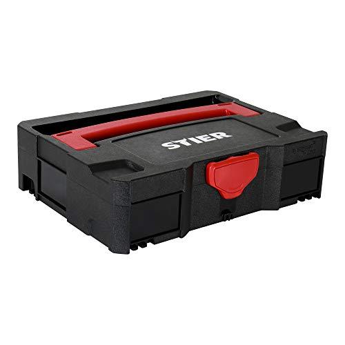 STIER Systainer I T-LOC BLACK-Edition, praktisches T-LOC-System, 105 x 396 x 296 mm, aus stabilem ASB-Kunststoff, problemlose Stapelung, Sortierbox, Werkzeugaufbewahrung