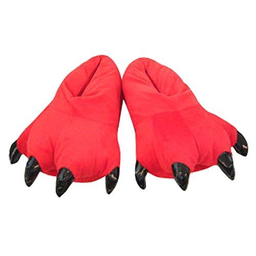 Aivtalk - Zapato de Franela Suave Cómodo Para Casa Unisex Zapatilla Disfraz Cosplay Garra Monstruo Para Carnaval Halloween Navidad Talla EU 34-38 - Rojo