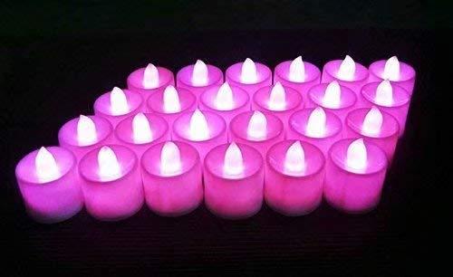 Waymeduo Satz von 12 flackernden LED-Kerzen flammenlosen Teelichtern für Dekoration, Festivals, Hochzeiten mit Batterien Pink